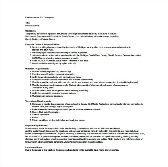Server Job Description Template – 10+ Free Word, PDF Format ...