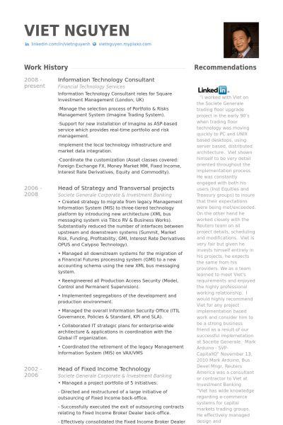 Information Technology Consultant Resume samples - VisualCV resume ...