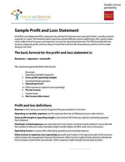 Profit And Loss Statement - Free Download, Edit, Fill, Create and ...