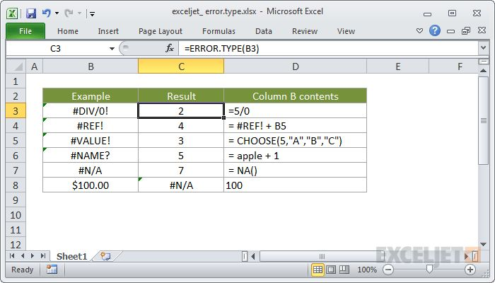 How to use the Excel ERROR.TYPE function | Exceljet