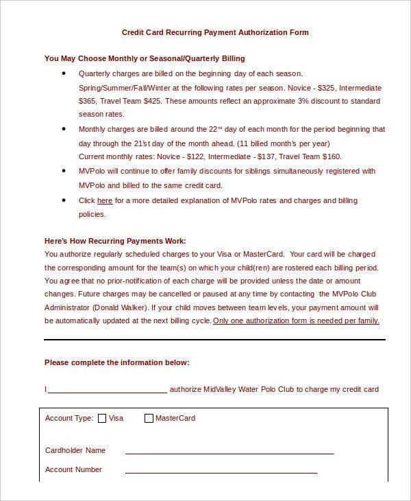 Credit Card Authorization Form Template Word | ossaba.com