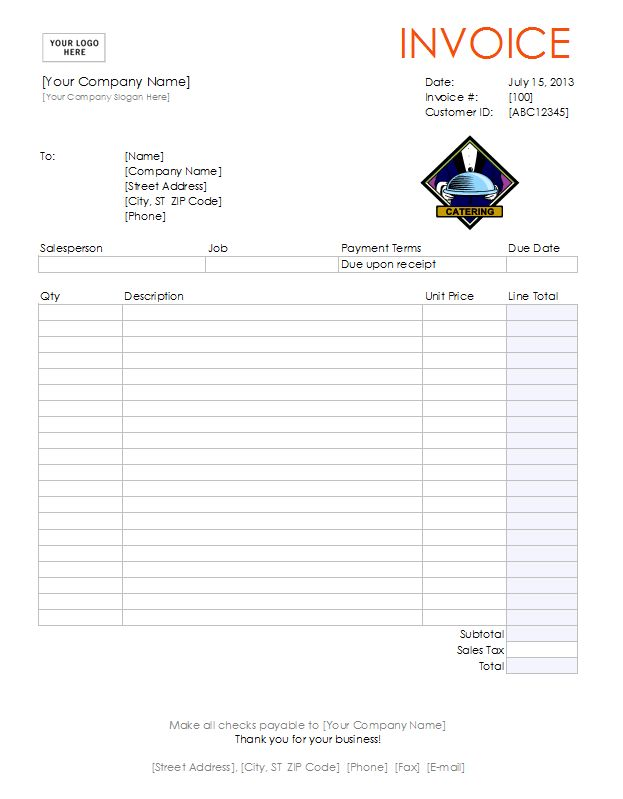Catering Invoice Template | Free Catering Invoice Template in Excel
