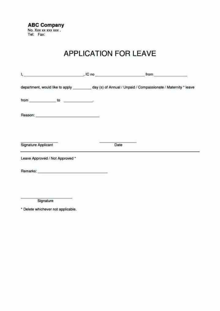 Annual Leave Application Form, leave application. leave ...