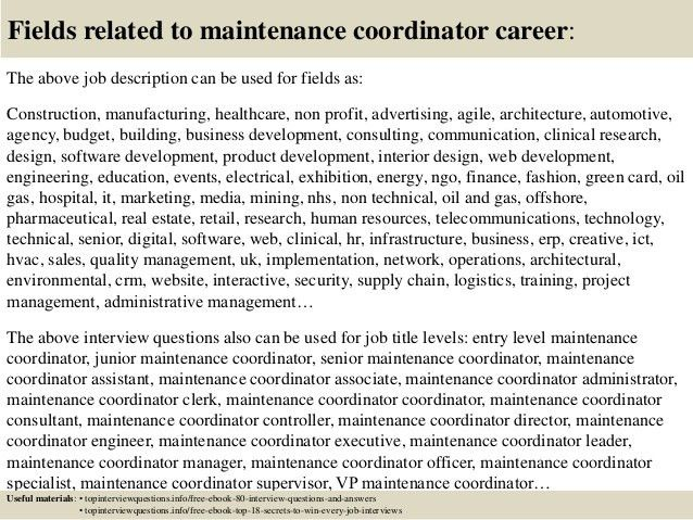 Top 10 maintenance coordinator interview questions and answers