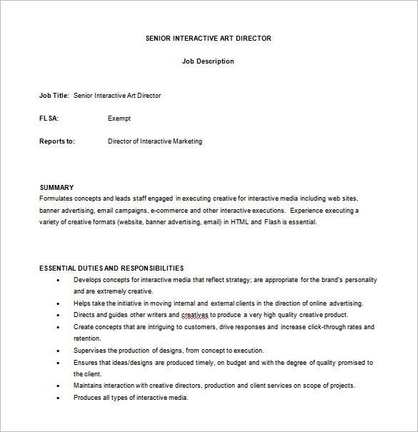 10+ Art Director Job Description Templates – Free Sample, Example ...