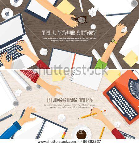 Workplace Typewriter Flat Designwriting Blogbloggingstorytelling ...