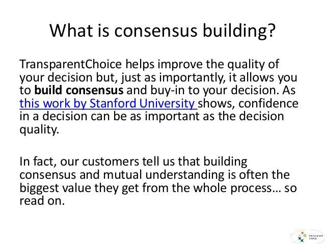 Building consensus using TransparentChoice AHP Software