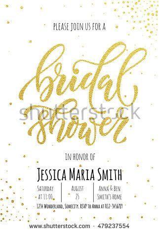 Bridal Shower Invitation Card Template Classic Stock Vector ...