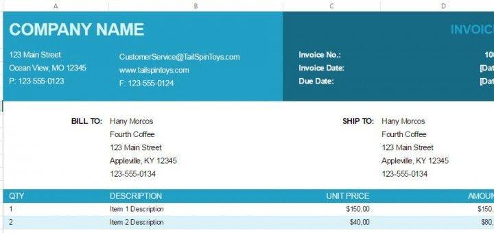 Free Excel Invoice Template | ShareTemplates