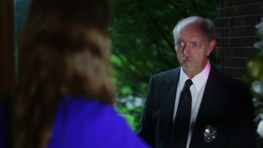 Detective At The Door Professional Actor And Runway Model. Stock ...