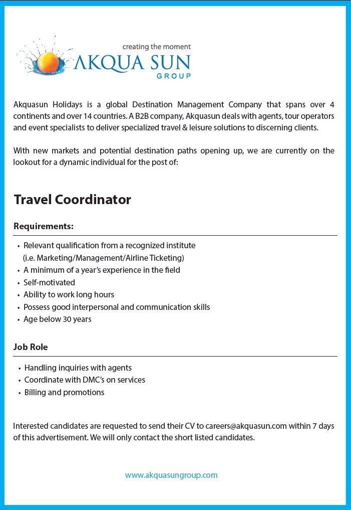 Vacancy - Akqua Sun Group - Travel Coordinator