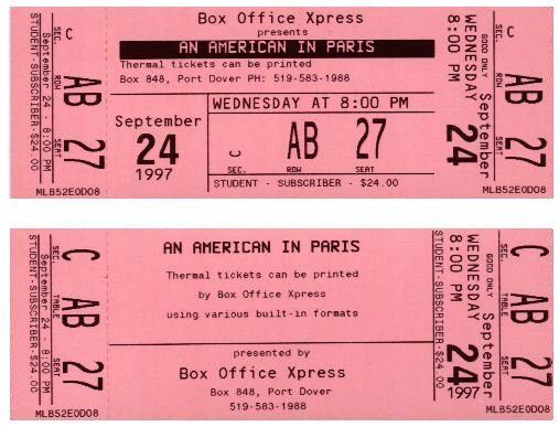 Thermal Ticket Samples