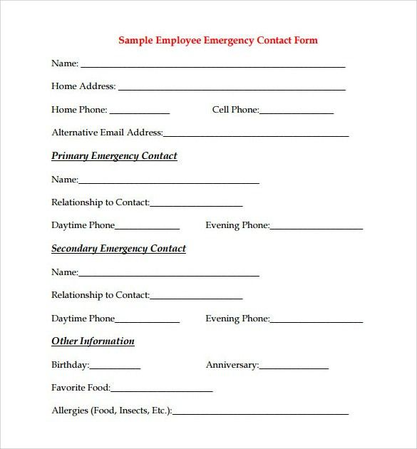 Sample Employee Form - 9+ Download Documents in PDF