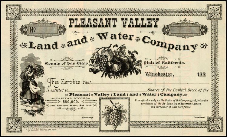 Pleasant Valley Land and Water Company [San Diego County Stock ...