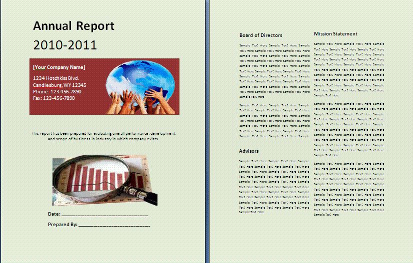 Sample Annual Report | Free Report Templates
