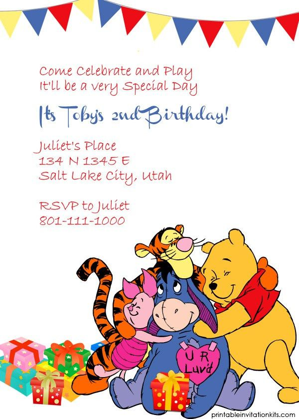 Winnie the Pooh Birthday Invitation Template http ...