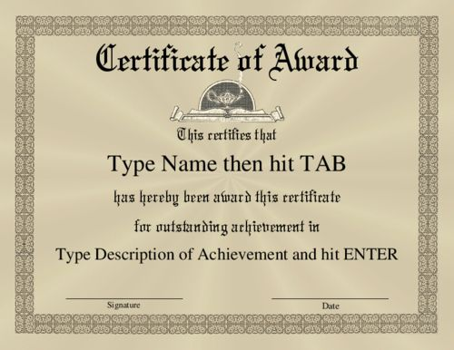 award certificate template | Certificate of Award with a formal ...