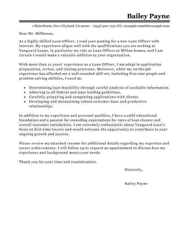 Best Loan Officer Cover Letter Examples | LiveCareer
