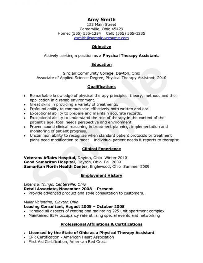 14 Physical Therapy Assistant Resume Resume physical therapist ...