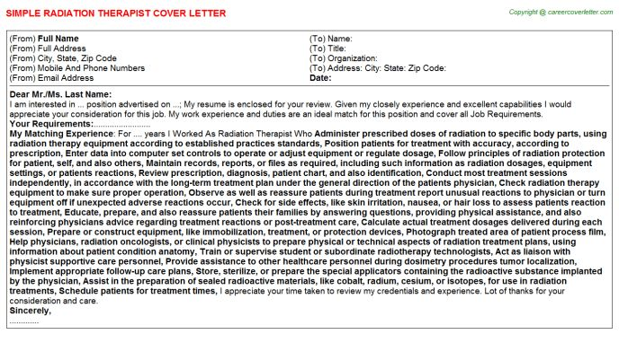 Radiation Therapist Cover Letter