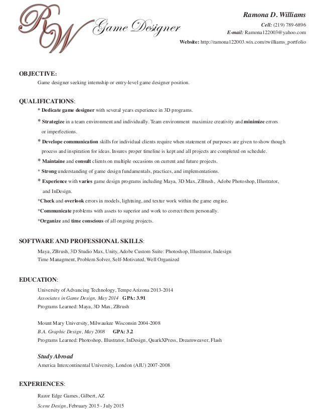 Ramona's Resume Game Design