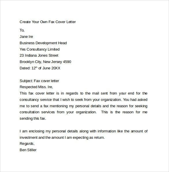 Fax Cover Letter - 9+ Free Samples, Examples & Format