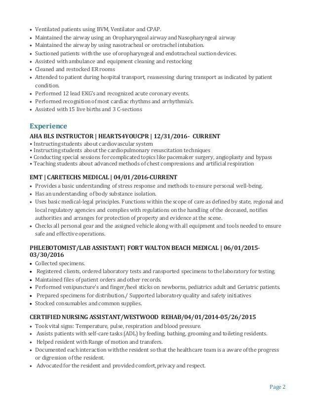 certified medical technician resume