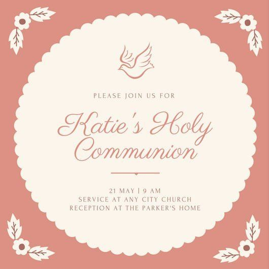 Cream Girl First Communion Invitation - Templates by Canva