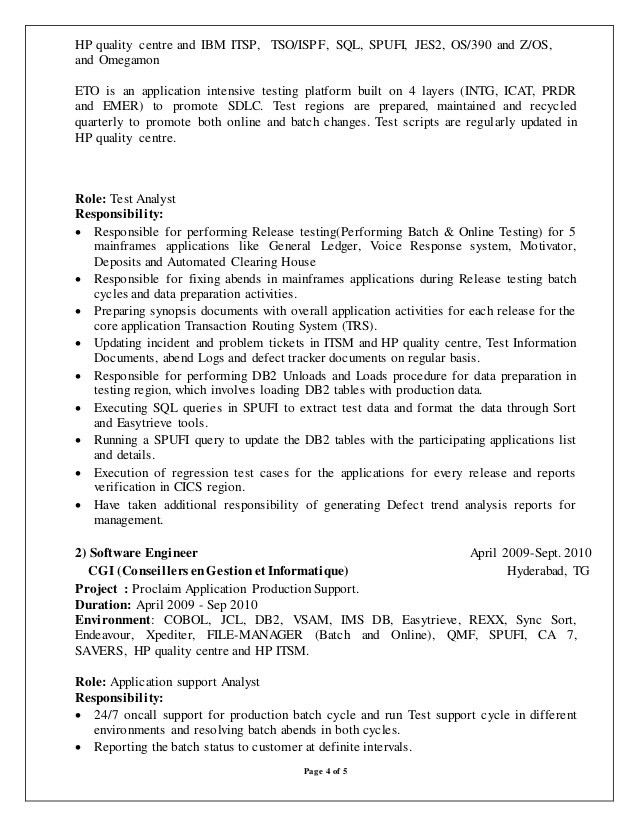 mainframe resume sample mainframe resume