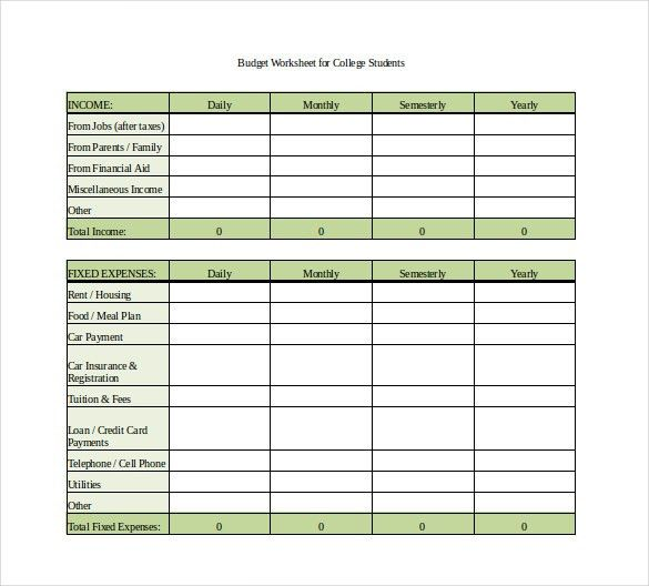 8+ Monthly Budget Spreadsheet Templates - Free Word, Excel, PDF ...