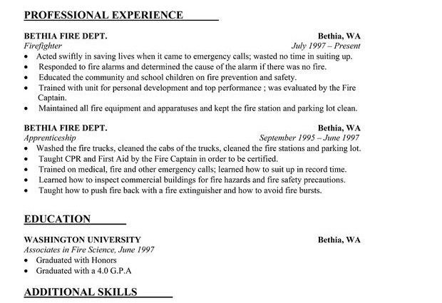 Firefighter Resume. How To Make A Resume For A Firefighter ...