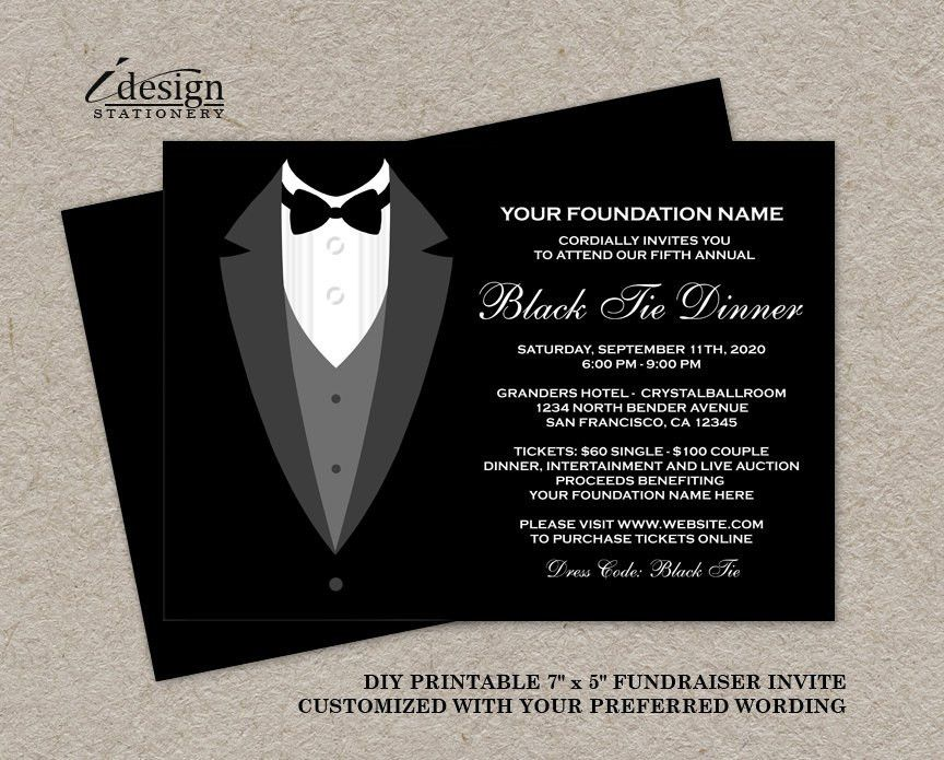 Black Tie Dinner Fundraising Invitations Printable Tuxedo