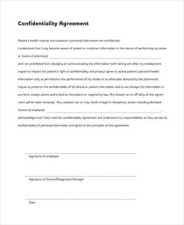 Sample Medical Confidentiality Agreement. Sample Confidentiality ...