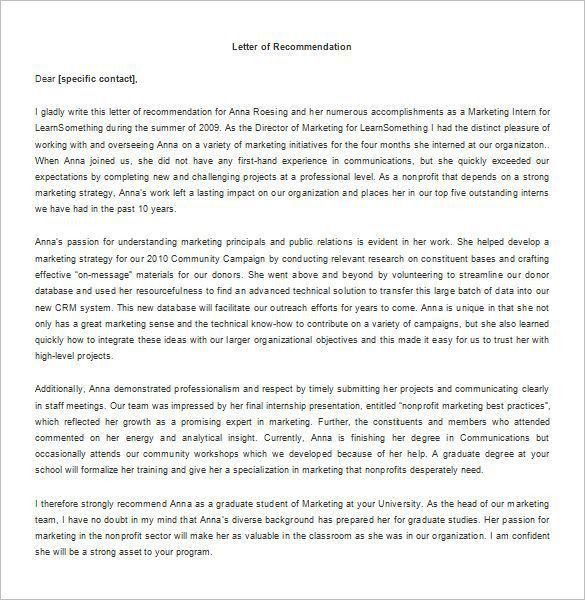 Recommendation Letter for Internship – 8+ Free Word, Excel, PDF ...