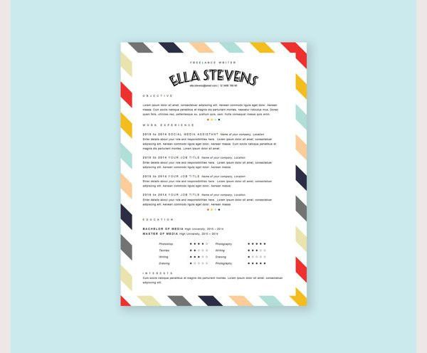 creative resume template 81 free samples examples format - Pretty Resume Templates