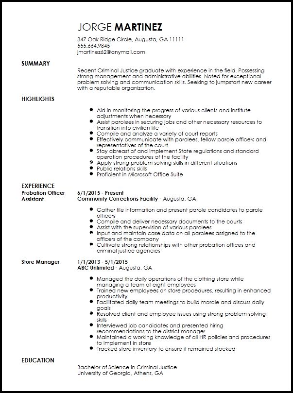 Free Entry Level Probation Officer Resume Template | ResumeNow