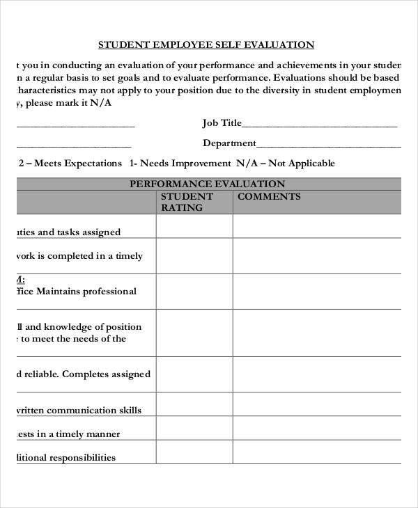 21+ Free Self-Evaluation Forms