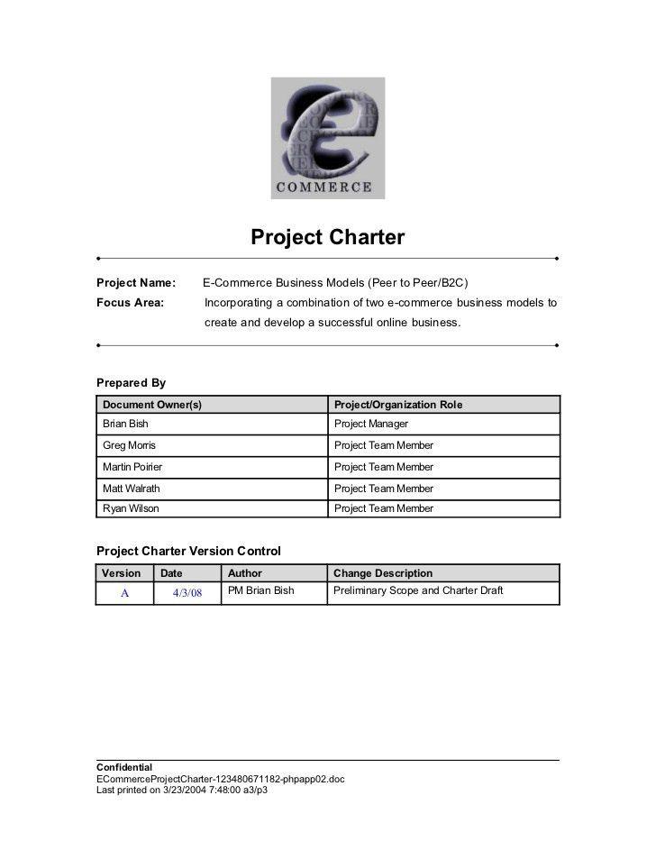 E Commerce Project Charter