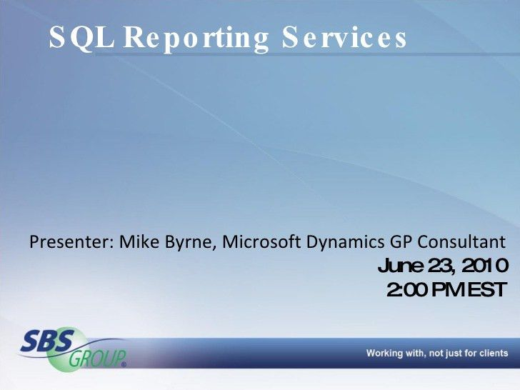 Microsoft Dynamics GP SQL Reporting Services