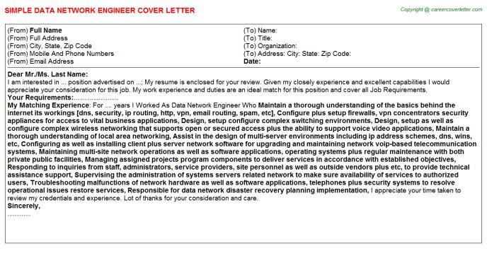 Data Network Engineer Cover Letter
