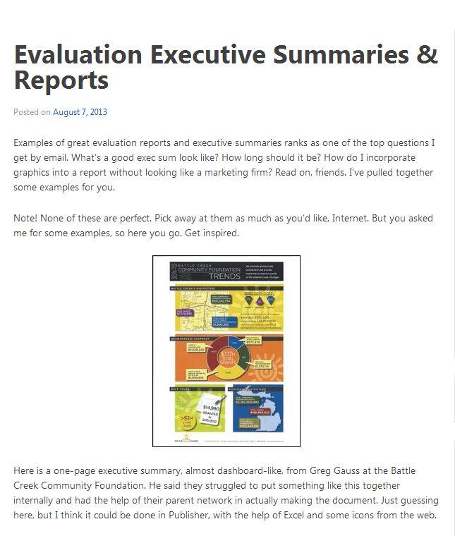 Executive Summaries | Better Evaluation