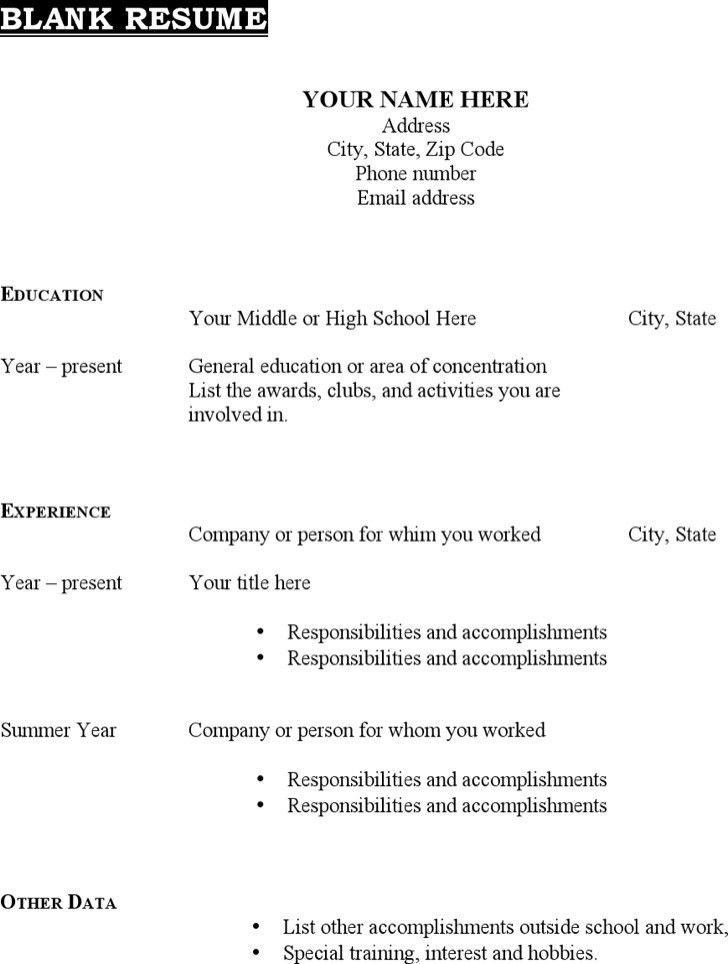 Blank Resume Pdf [Resume.characterworld.co ]