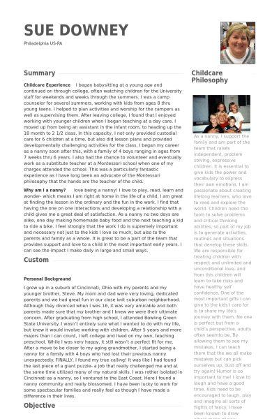 Nanny Resume samples - VisualCV resume samples database
