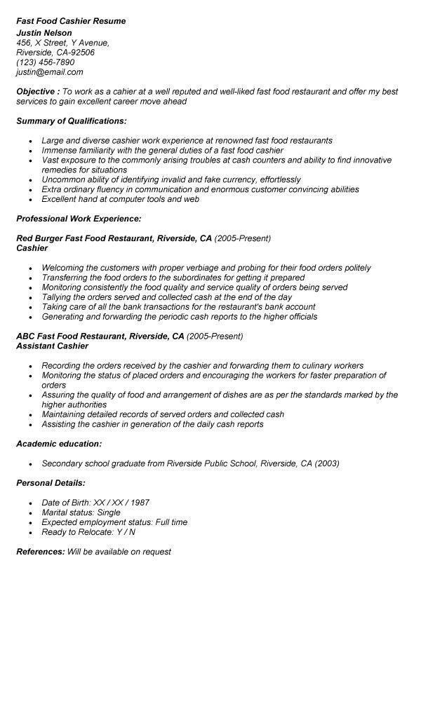Fast Food Cashier Resume Templates. 10 cashier responsibilities ...