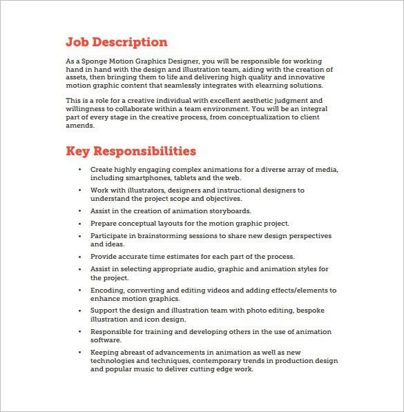 Graphic Designer Job Description Template - 10+ Free Word, PDF ...