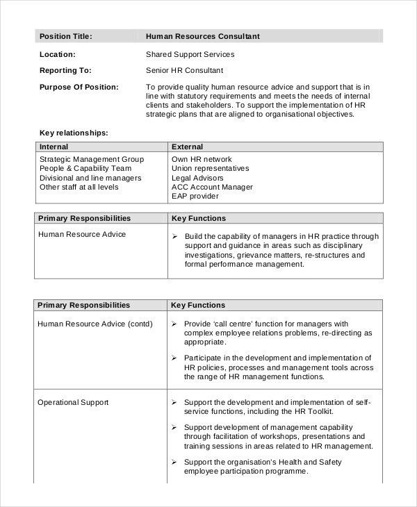 Consultant Job Description Example - 11+ Free PDF Documents ...