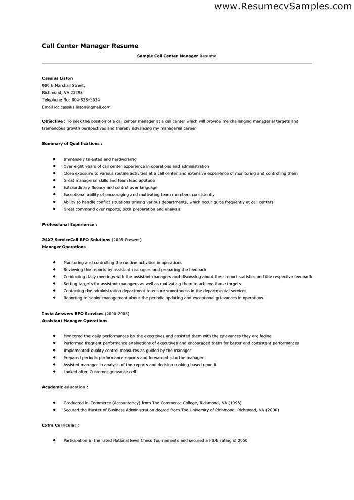 Call Center Resume Samples | haadyaooverbayresort.com