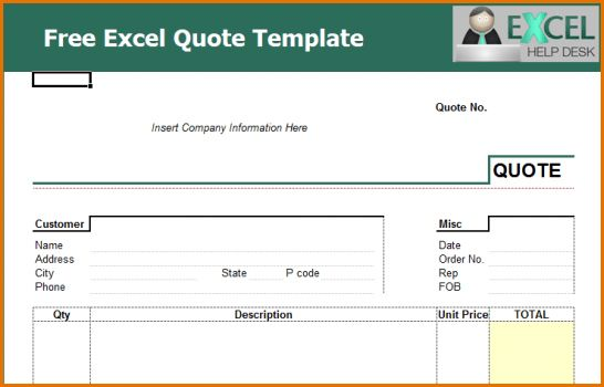 4+ excel quote template | Job Resumes Word