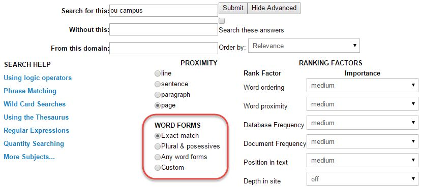 Using Word Forms   OU Campus Support