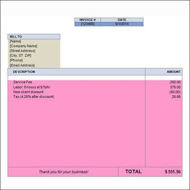 Free Blank Invoice Template for Microsoft Word : Selimtd